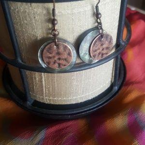 Lia Sophia Copper and Abalone Shell Earrings